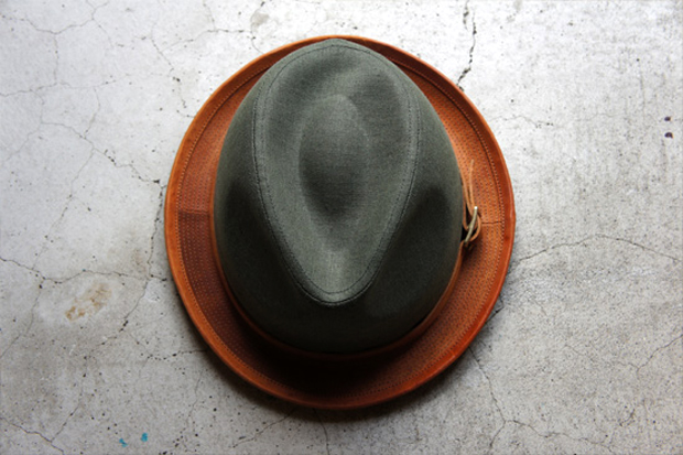 Image of morno x Roberu Natural Dyed Canvas and Leather Hat
