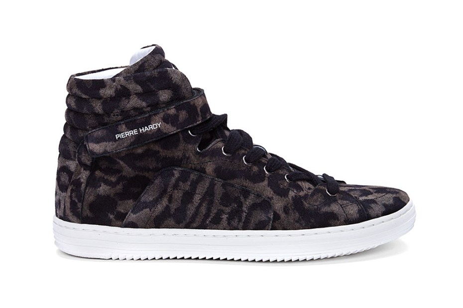 Image of Pierre Hardy 2012 Fall/Winter High-Top Leopard Print Suede Sneakers