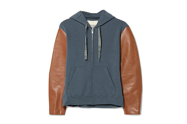 Image of UNDERCOVER J4801 Leather-Sleeved Hoodie