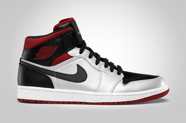 Image of Air Jordan 1 Mid - Metallic Platinum/Gym Red