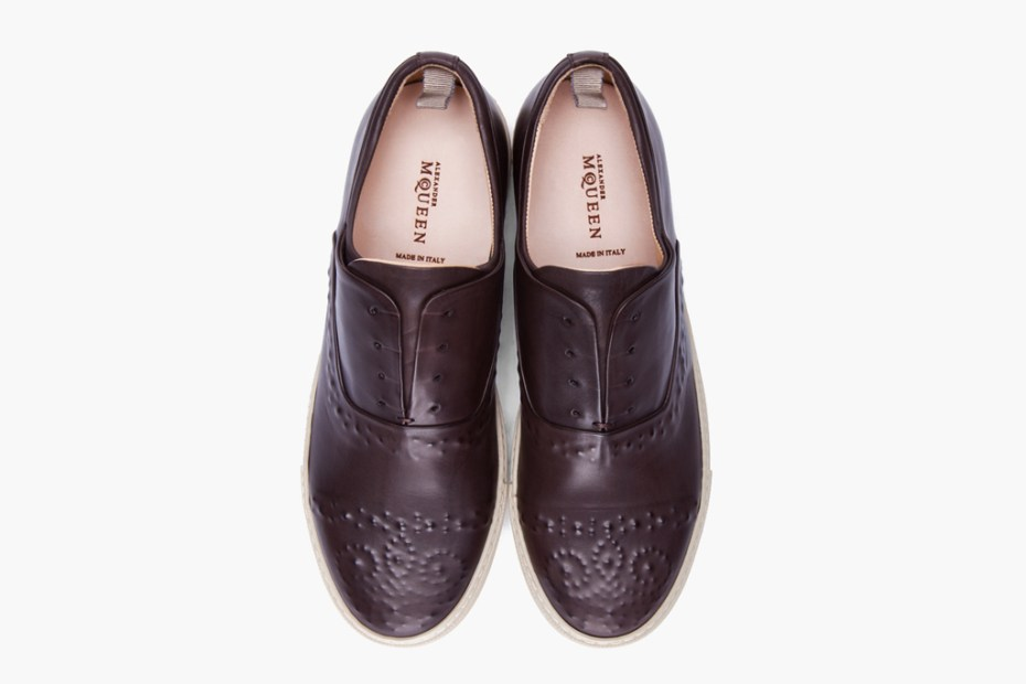 Image of Alexander McQueen Dark Brown Embossed Leather Shoes