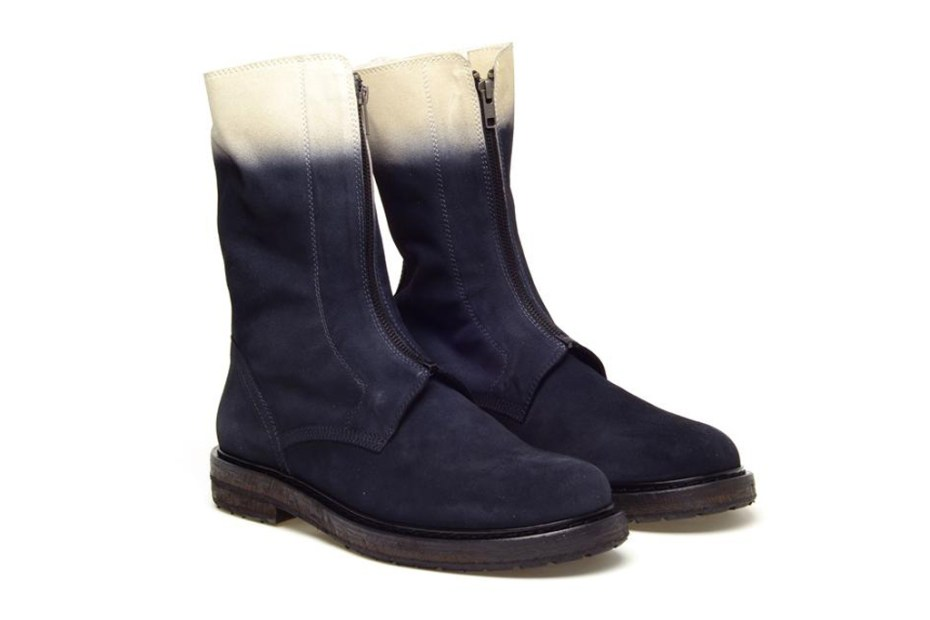 Image of Ann Demeulemeester 2012 Fall/Winter Block Dyed Suede Engineer Boot