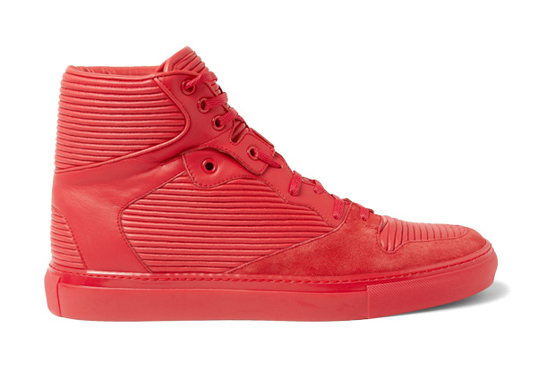 Image of Balenciaga Cambure Panelled Leather High Top Sneakers