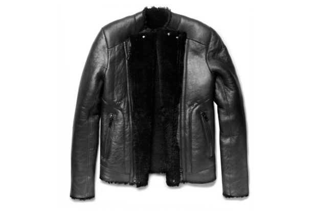 Image of Balmain Shearling-Lined Slim Fit Leather Jacket