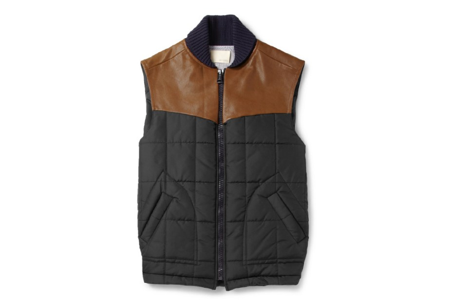 Image of Band of Outsiders Leather Trimmed Quilted Vest