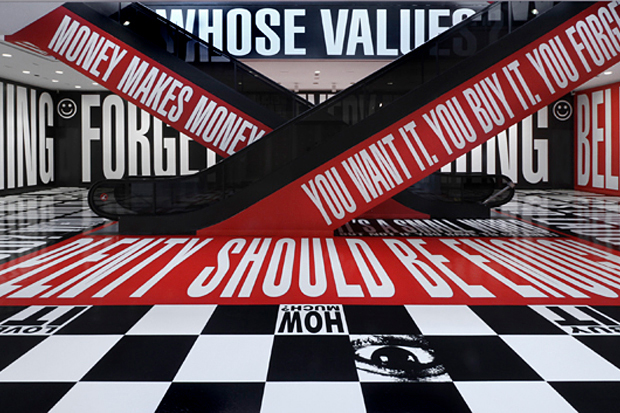 "Image of Barbara Kruger ""Belief + Doubt"" Installation @ Hirshhorn Museum"