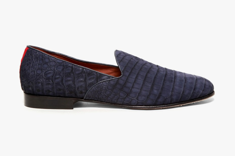 Image of Del Toro Bespoke Exotic Series Suede Navy Crocodile Slipper