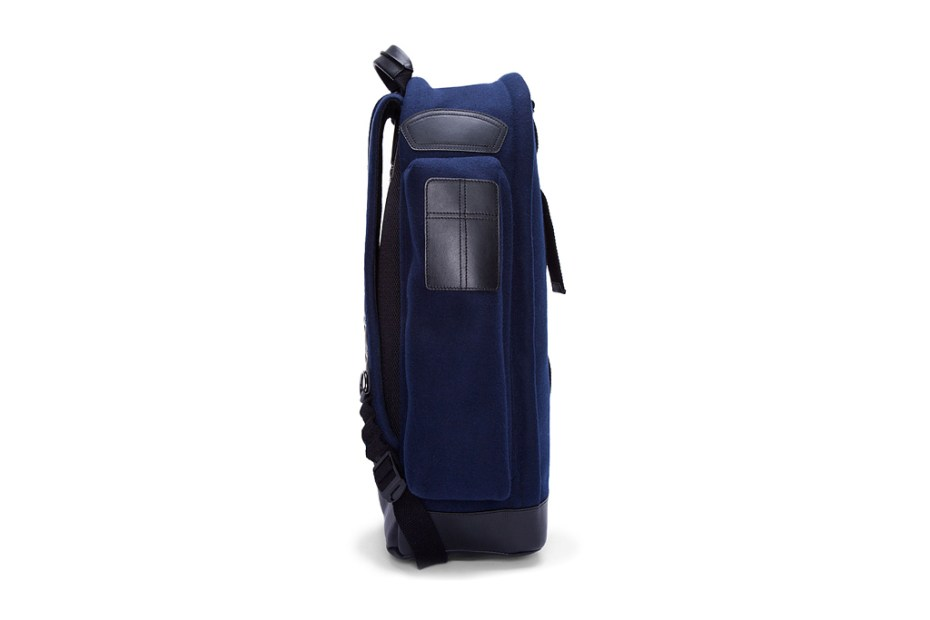 Image of Givenchy Navy Felt and Leather Backpack