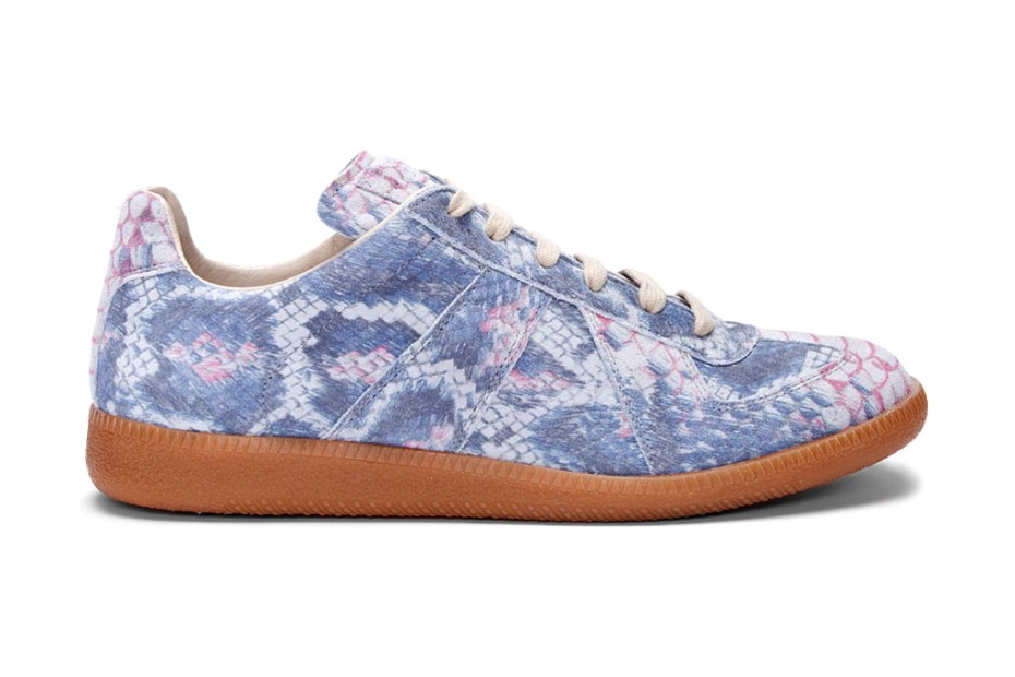 Image of Maison Martin Margiela Suede Python Print Sneakers