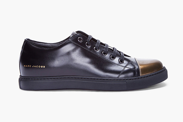 Image of Marc Jacobs Patent Gold Cap Toe Leather Sneaker