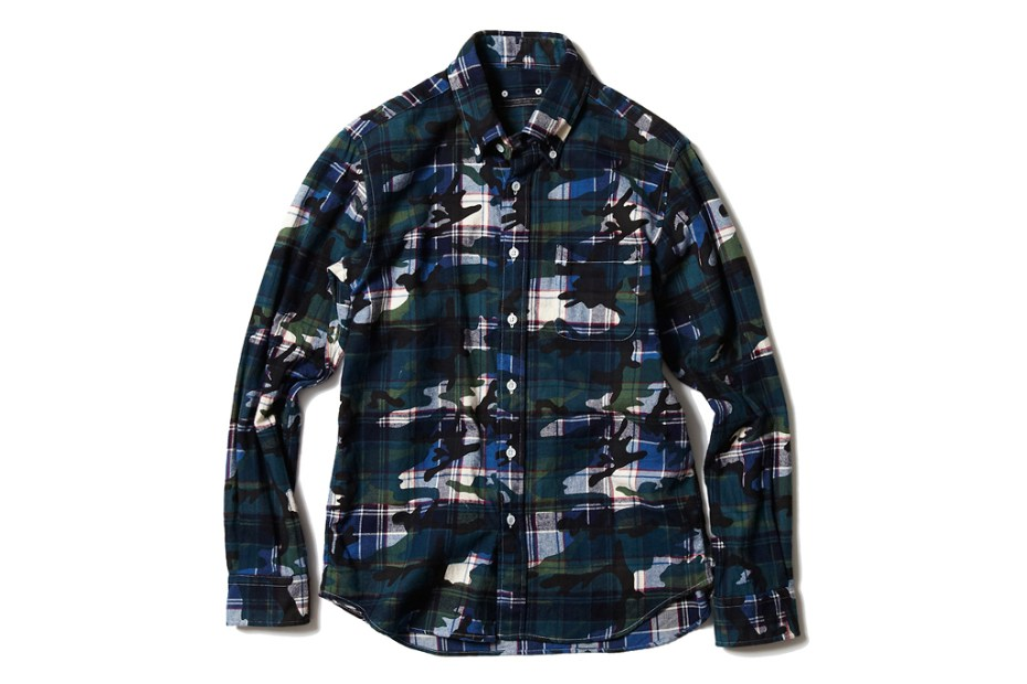Image of SOPHNET. CAMOUFLAGE OVER PRINT FLANNEL B.D SHIRT