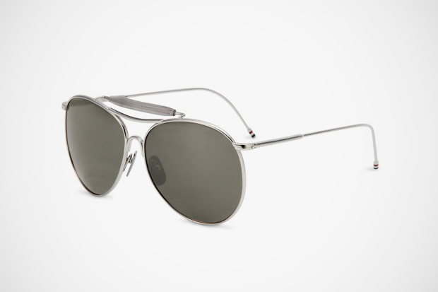 Image of Thom Browne Shiny Silver Sunglasses