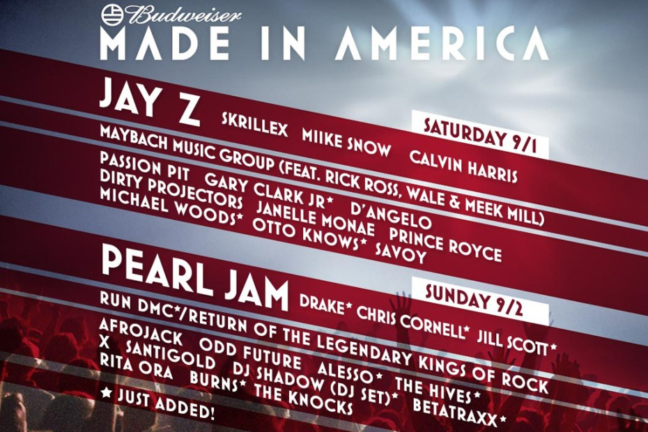 Image of Win Two Free One-Day Passes for Jay-Z's MADE IN AMERICA FESTIVAL!