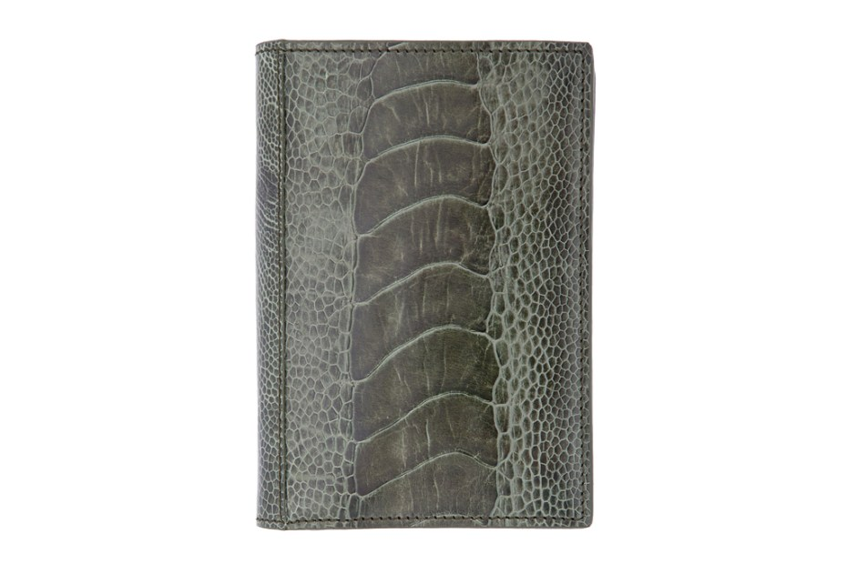 Image of Yves Saint Laurent Olive Ostrich Wallet