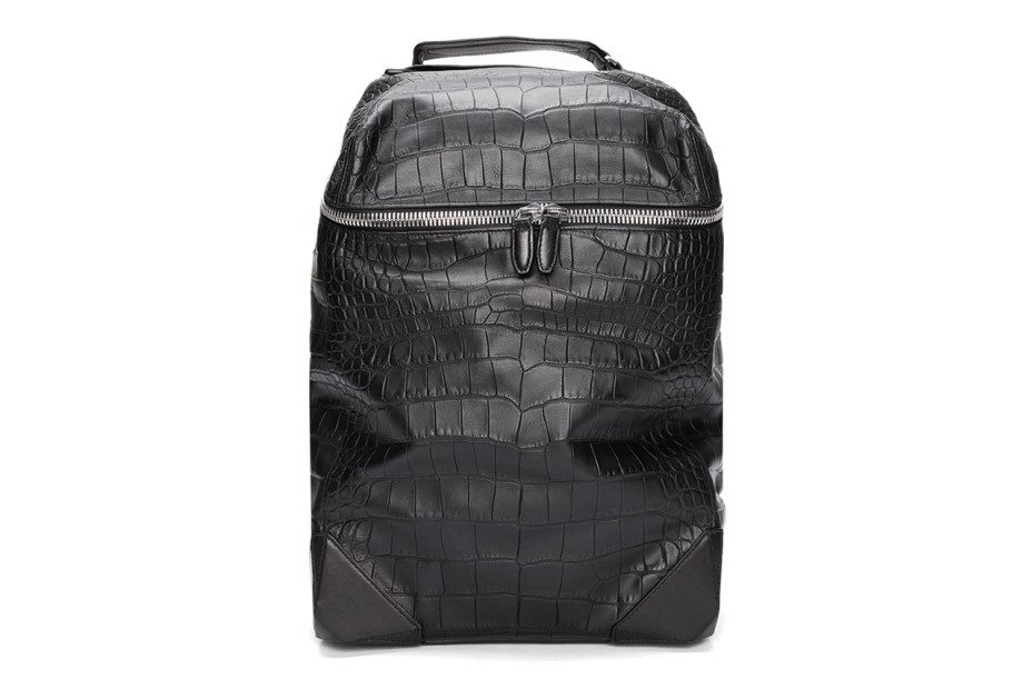 Image of Alexander Wang Black Croc Embossed Leather Wallie Backpack