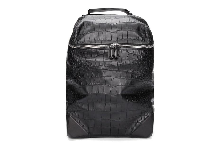 Image of Alexander Wang Black Croc Embossed Leather Wallie Backpack