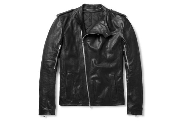 Image of Balmain Full-Grain Leather Biker Jacket