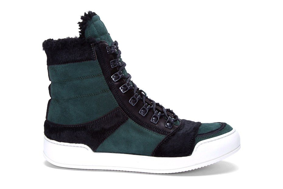 Image of Balmain Suede and Calf-Hair High Top Sneakers