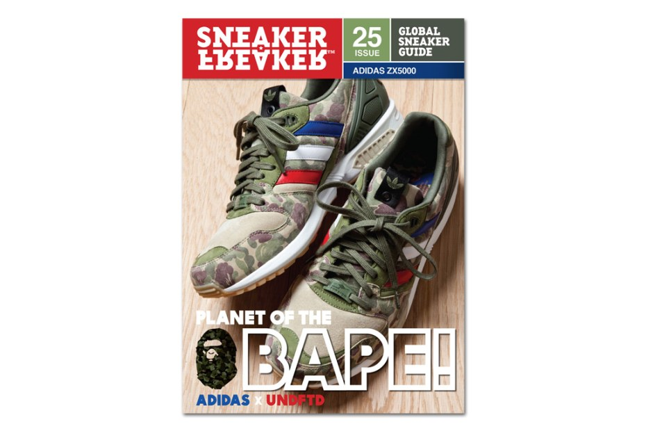 Image of BAPE x UNDFTD x adidas ZX5000 on the Cover of Sneaker Freaker Issue 25