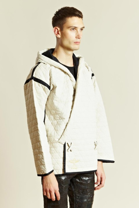 Image of BLACKMEANS Quilting Hooded Kimono Jacket