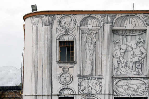 Image of BLU's Latest Mural in Rome