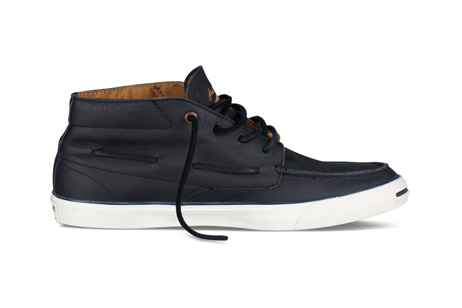 Image of Converse Jack Purcell Mid-Top Navy Leather Boat Shoe