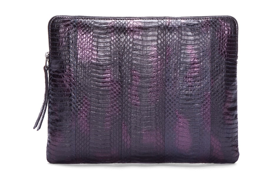 Image of Lanvin Purple Combo Snakeskin Zip Bag
