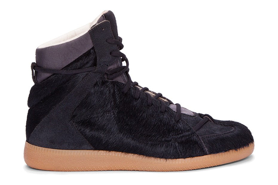 Image of Maison Martin Margiela Calf-Hair Matelasse Hi-Top Sneaker