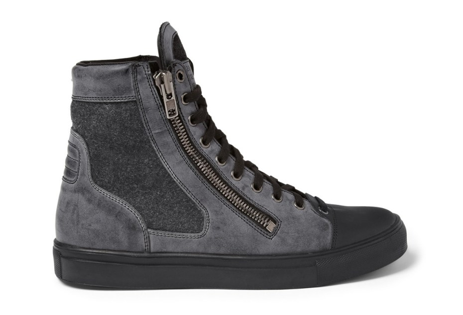 Image of Maison Martin Margiela Leather and Wool High Top Sneakers