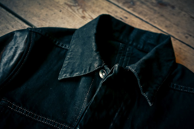 Image of Rick Owens DRKSHDW Leather Sleeve Denim Jacket