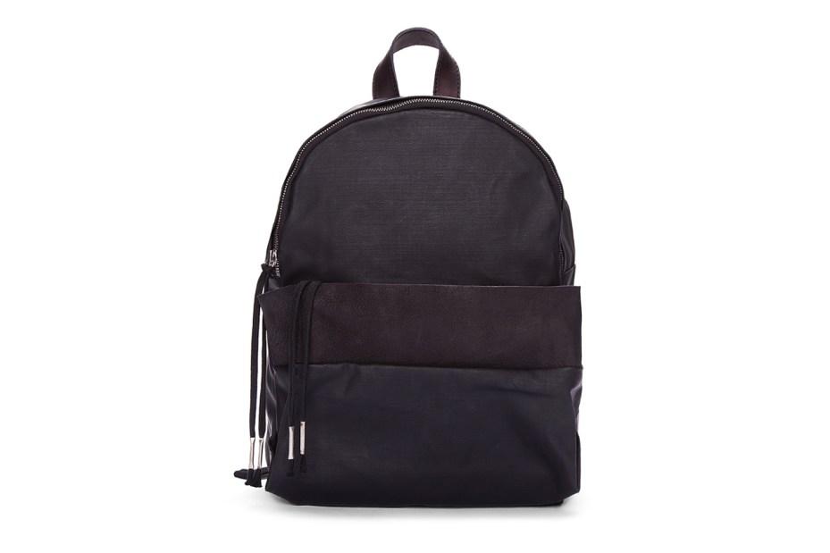 Image of SILENT Damir Doma Black Leather Trimmed Bango Backpack