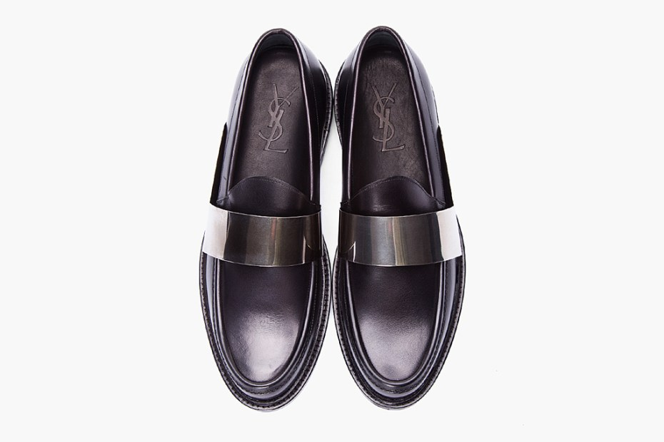 Image of Yves Saint Laurent Black Leather Brass Bar Loafers