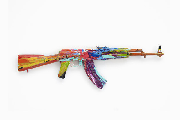 "Image of Damien Hirst's ""Spin AK47 for Peace Day"""