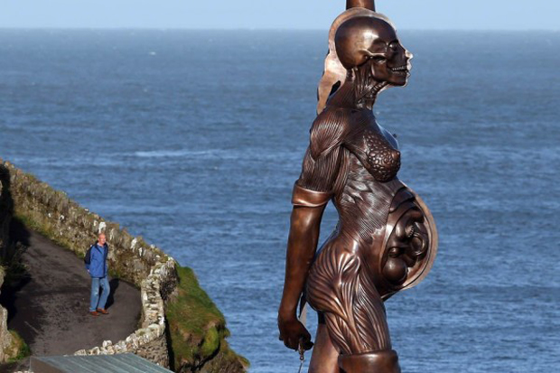 Image of Damien Hirst's 'Verity' Statue Installed in the UK