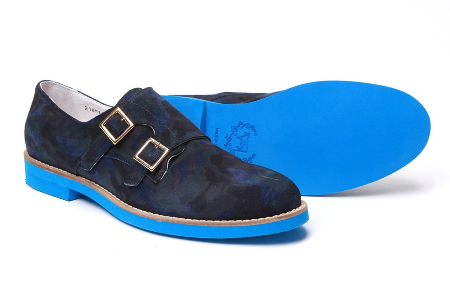 Image of Del Toro Navy Camo Suede Double Monkstrap