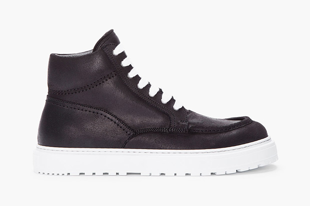 Image of KRISVANASSCHE 2012 Fall/Winter Black Leather Boat Sneaker