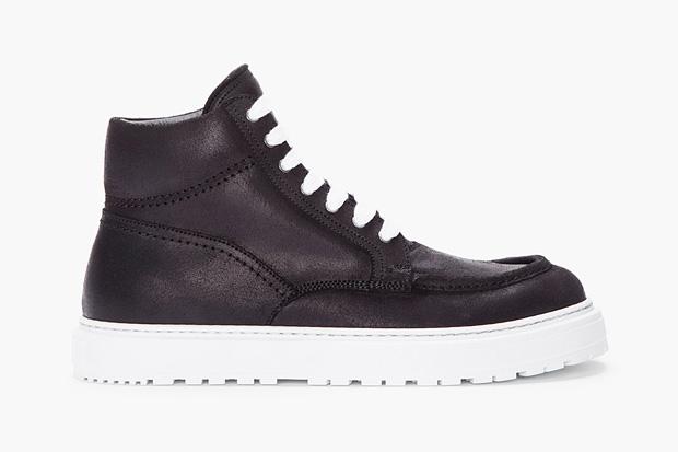 Image of KRISVANASSCHE 2012 Fall/Winter Black Leather Boat Sneaker