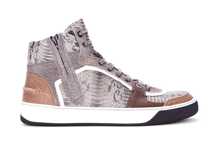 Image of Lanvin High-Top Snakeskin Tennis Shoes