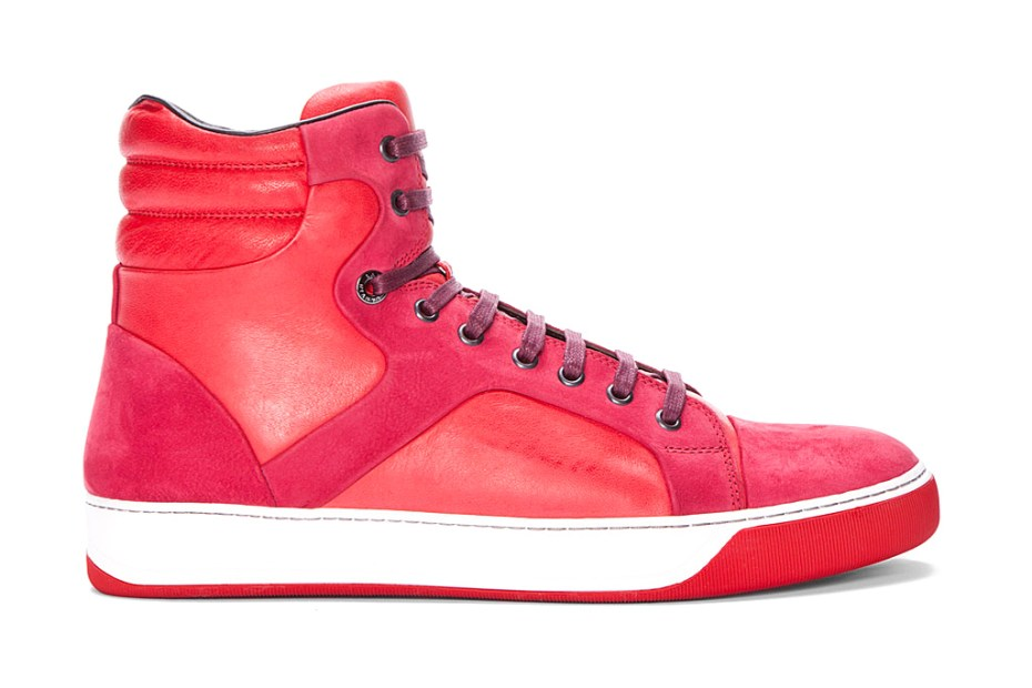 Image of Lanvin Red Leather Puzzle Tennis Shoes