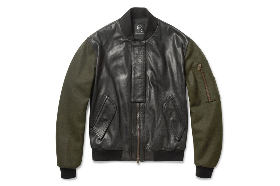 Image of McQ by Alexander McQueen 2012 Fall/Winter Contrast-Sleeve Padded Leather Bomber Jacket