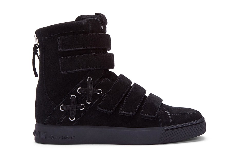 Image of Pierre Balmain Black Strapped Hi-Top Sneakers
