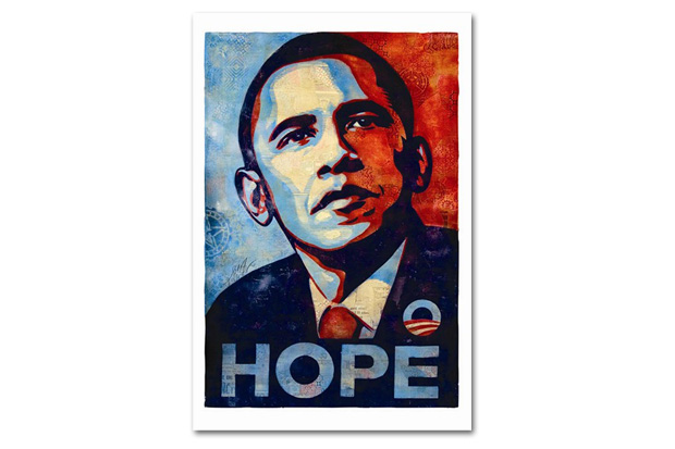 "Image of Shepard Fairey Discusses How the ""Hope"" Poster Would Appear in 2012 Along with Redesigning The Rolling Stones"