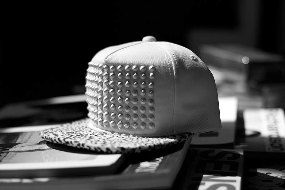 Image of Stampd All White Pony Hair Studded Hat