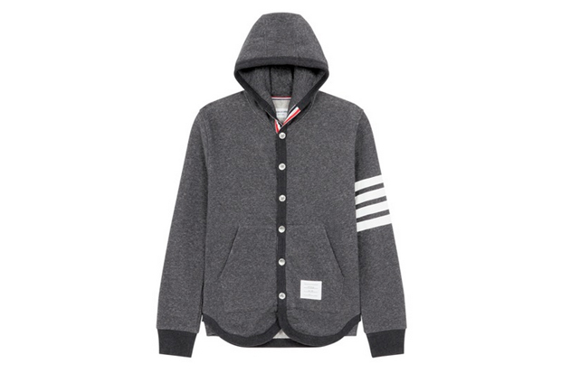 Image of Thom Browne Button-Up Hoodie