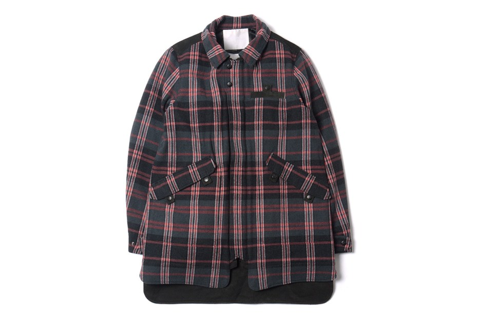 Image of White Mountaineering Wool Tweed Check Soutien Collar Jacket