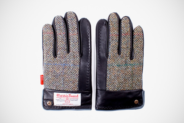 Image of WTAPS x Harris Tweed Leather Gloves