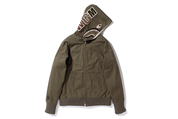 Image of A Bathing Ape HERRINGBONE SHARK FULL ZIP HOODIE