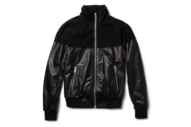 Image of Alexander McQueen Leather and Suede Bomber Jacket