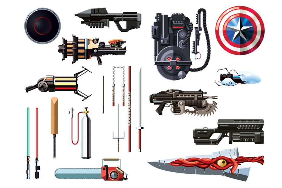 Image of Daniel Nyari Illustrates Famous Weapons from Movies and Video Games
