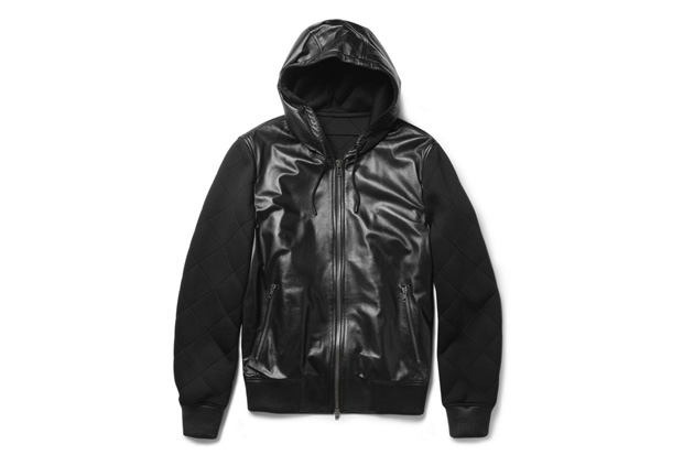 Image of Givenchy Leather & Quilted Neoprene Hooded Jacket